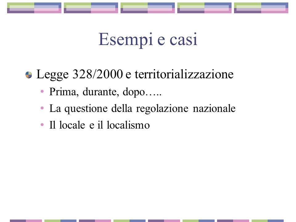 Esempi e casi Legge 328/2000 e territorializzazione Prima, durante, dopo….. La questione della regolazione nazionale Il locale e il localismo