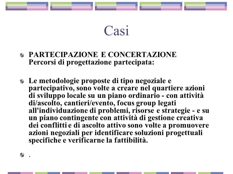 Casi PARTECIPAZIONE E CONCERTAZIONE Percorsi di progettazione partecipata: Le metodologie proposte di tipo negoziale e partecipativo, sono volte a cre