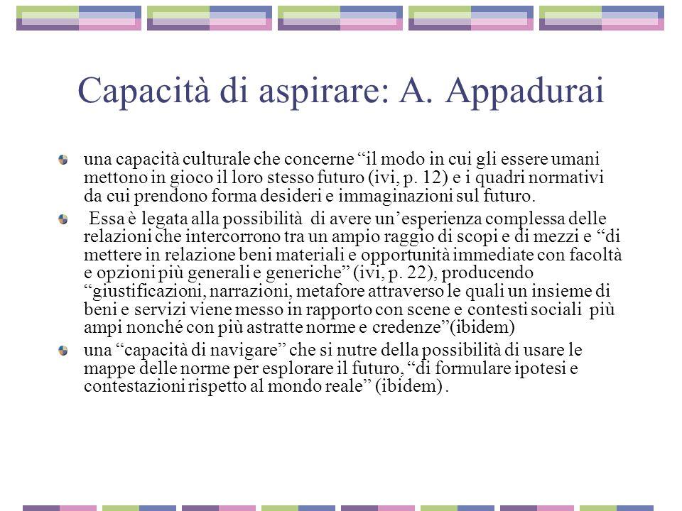 Capacità di aspirare: A. Appadurai una capacità culturale che concerne il modo in cui gli essere umani mettono in gioco il loro stesso futuro (ivi, p.