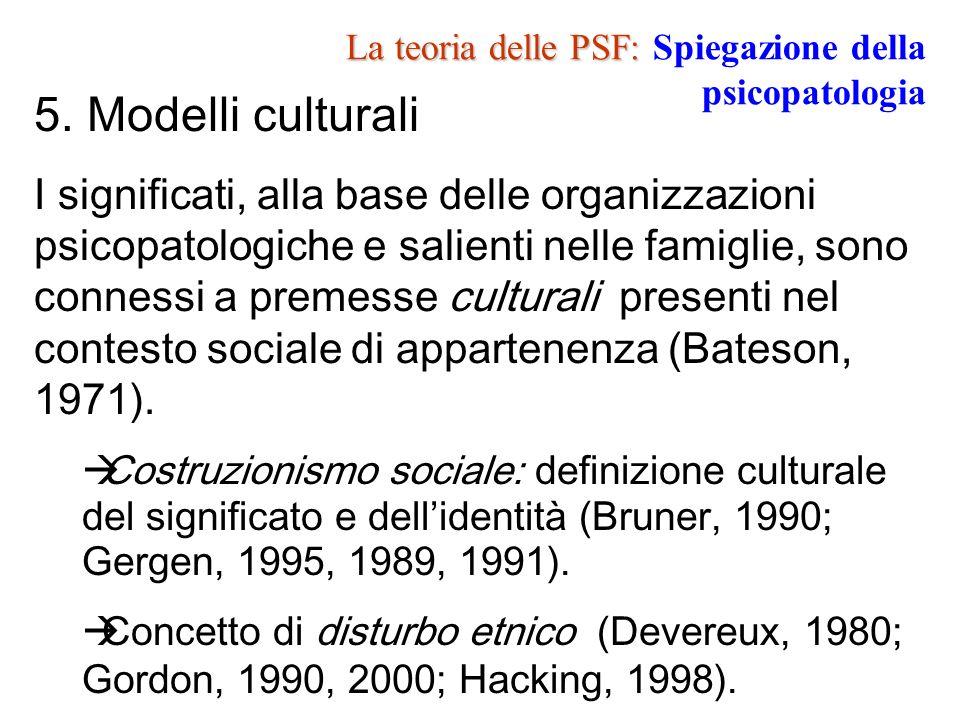 La teoria delle PSF: La teoria delle PSF: Spiegazione della psicopatologia 5. Modelli culturali I significati, alla base delle organizzazioni psicopat