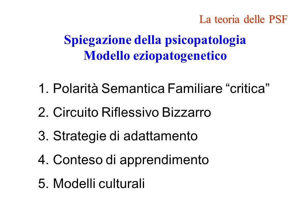 Spiegazione della psicopatologia Modello eziopatogenetico 1.Polarità Semantica Familiare critica 2.Circuito Riflessivo Bizzarro 3.Strategie di adattam