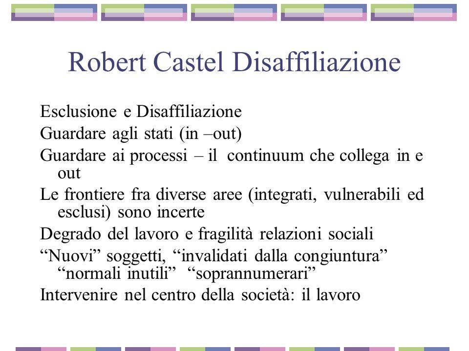 Robert Castel Linsicurezza sociale Ambiguità dei processi Effetti: divaricazione fra chi ce la fa e chi non ce la fa….