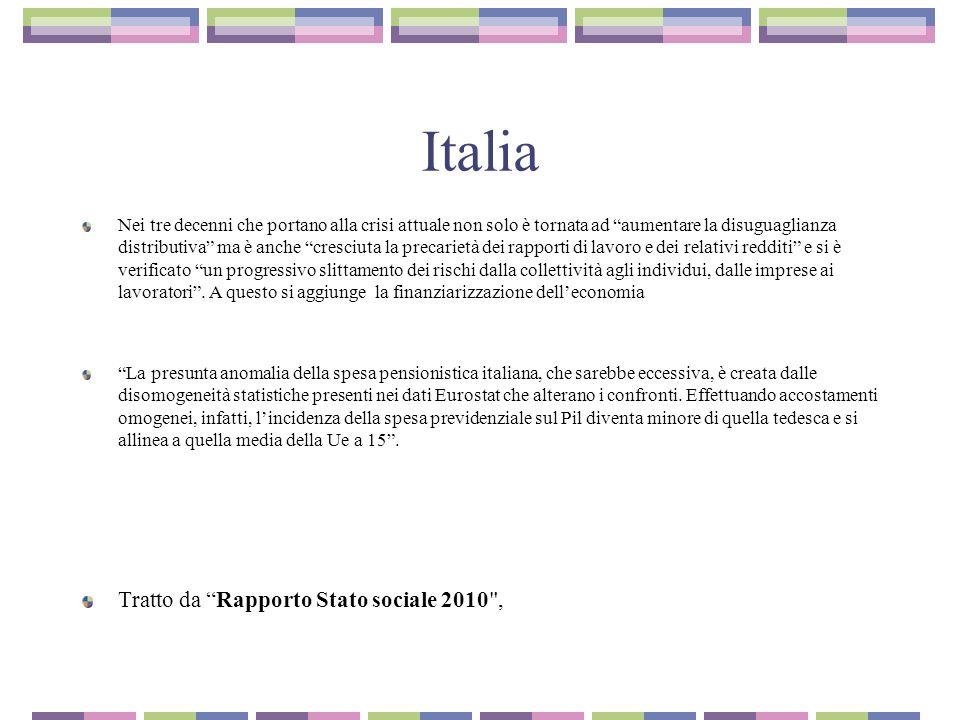 Italia LA QUESTIONE GIOVANILE I tassi di disoccupazione giovanile nel 2010 toccano il 28% delle coorti 15- 24 anni Il 46,7% dei giovani ha un lavoro precario e questa percentuale è cresciuta di 9 punti dall inizio della crisi, nel 2007.