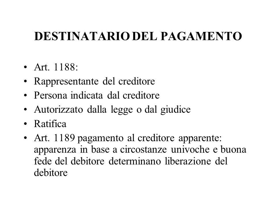 DESTINATARIO DEL PAGAMENTO Art.