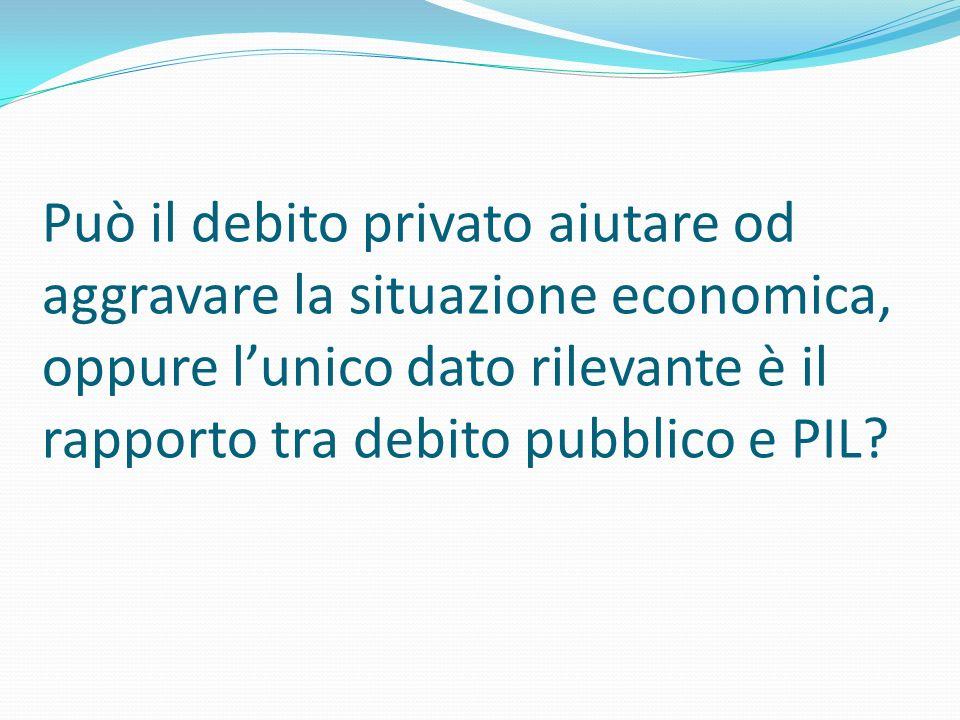 Può il debito privato aiutare od aggravare la situazione economica, oppure lunico dato rilevante è il rapporto tra debito pubblico e PIL?