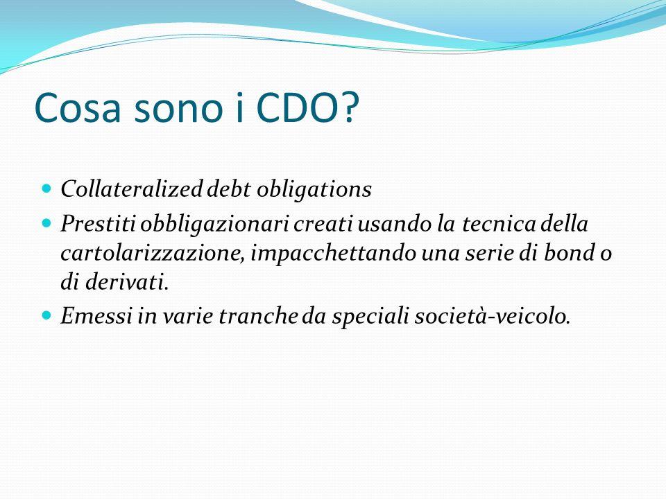 Cosa sono i CDO? Collateralized debt obligations Prestiti obbligazionari creati usando la tecnica della cartolarizzazione, impacchettando una serie di