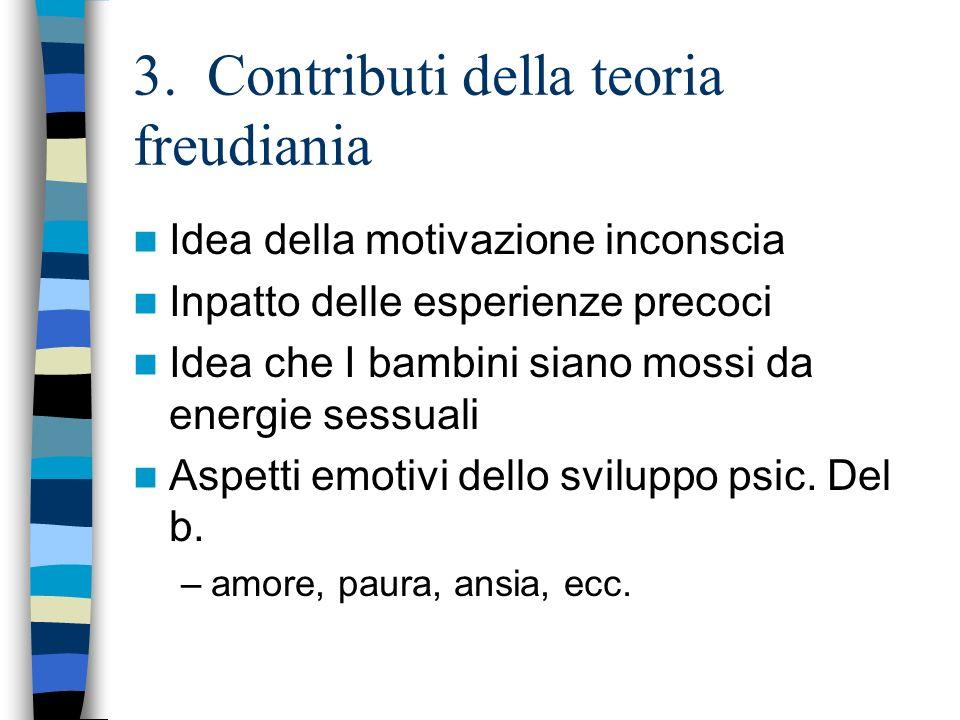 3. Contributi della teoria freudiania Idea della motivazione inconscia Inpatto delle esperienze precoci Idea che I bambini siano mossi da energie sess