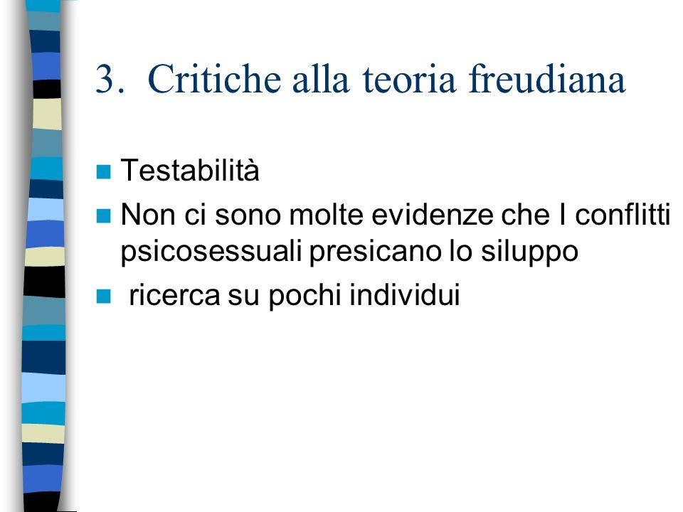 3. Critiche alla teoria freudiana Testabilità Non ci sono molte evidenze che I conflitti psicosessuali presicano lo siluppo ricerca su pochi individui