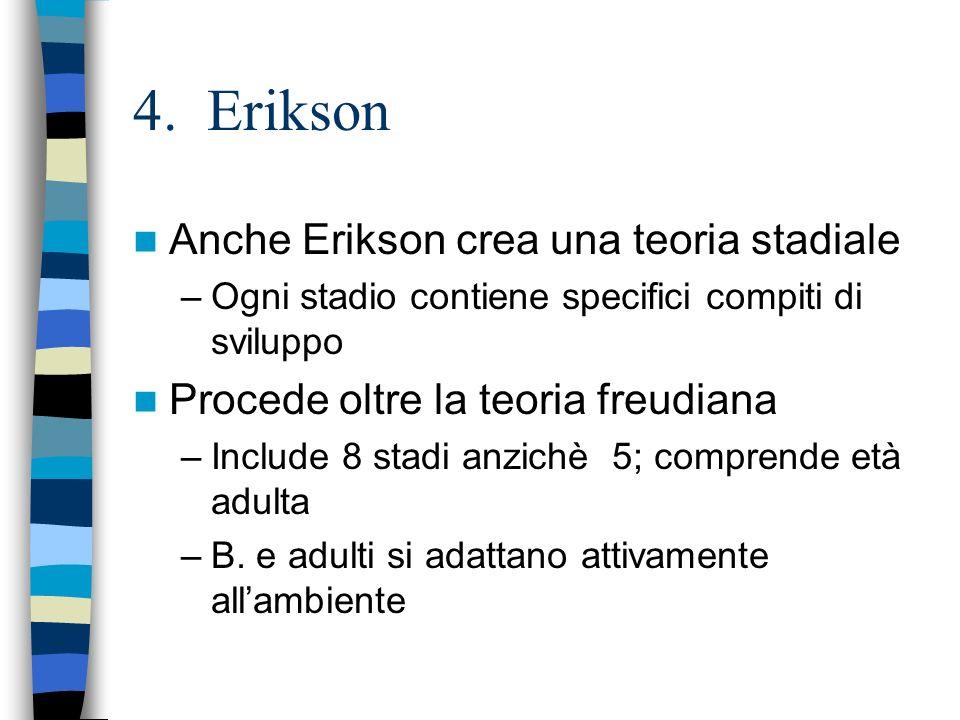 4. Erikson Anche Erikson crea una teoria stadiale –Ogni stadio contiene specifici compiti di sviluppo Procede oltre la teoria freudiana –Include 8 sta