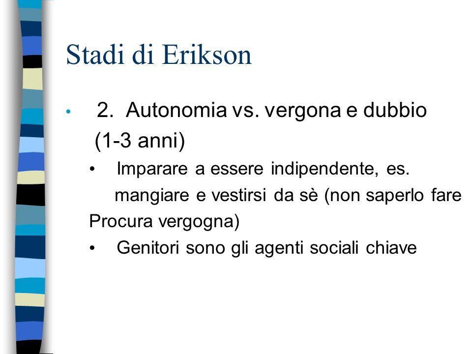Stadi di Erikson 2. Autonomia vs. vergona e dubbio (1-3 anni) Imparare a essere indipendente, es. mangiare e vestirsi da sè (non saperlo fare Procura