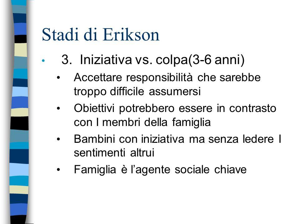 Stadi di Erikson 3. Iniziativa vs. colpa(3-6 anni) Accettare responsibilità che sarebbe troppo difficile assumersi Obiettivi potrebbero essere in cont