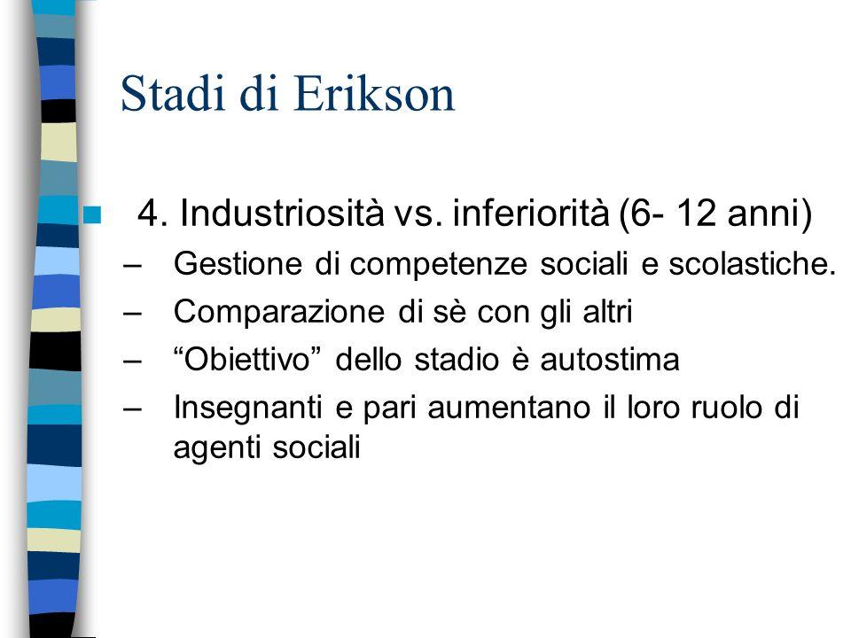 Stadi di Erikson 4. Industriosità vs. inferiorità (6- 12 anni) –Gestione di competenze sociali e scolastiche. –Comparazione di sè con gli altri –Obiet