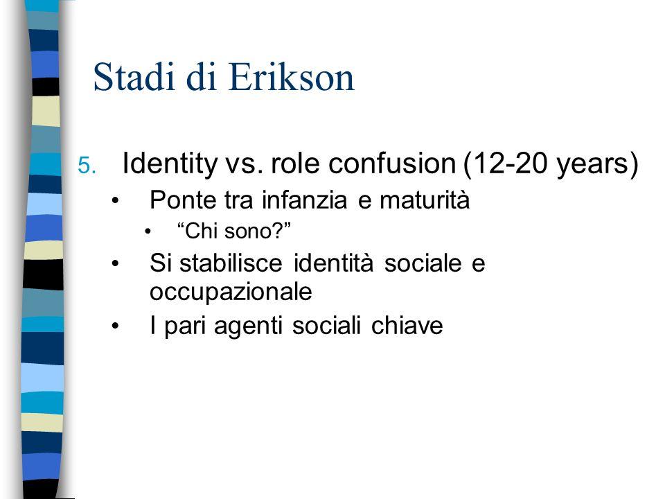 Stadi di Erikson 5. Identity vs. role confusion (12-20 years) Ponte tra infanzia e maturità Chi sono? Si stabilisce identità sociale e occupazionale I