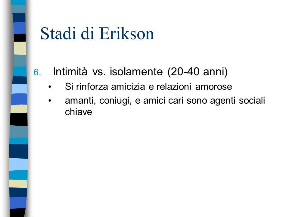 Stadi di Erikson 6. Intimità vs. isolamente (20-40 anni) Si rinforza amicizia e relazioni amorose amanti, coniugi, e amici cari sono agenti sociali ch