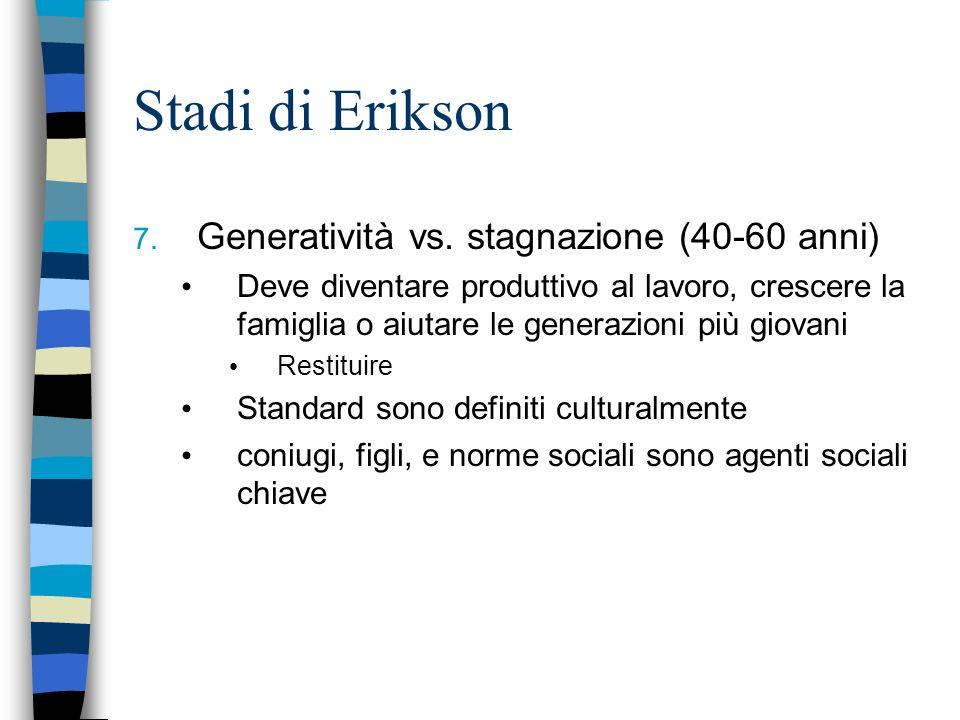 Stadi di Erikson 7. Generatività vs. stagnazione (40-60 anni) Deve diventare produttivo al lavoro, crescere la famiglia o aiutare le generazioni più g
