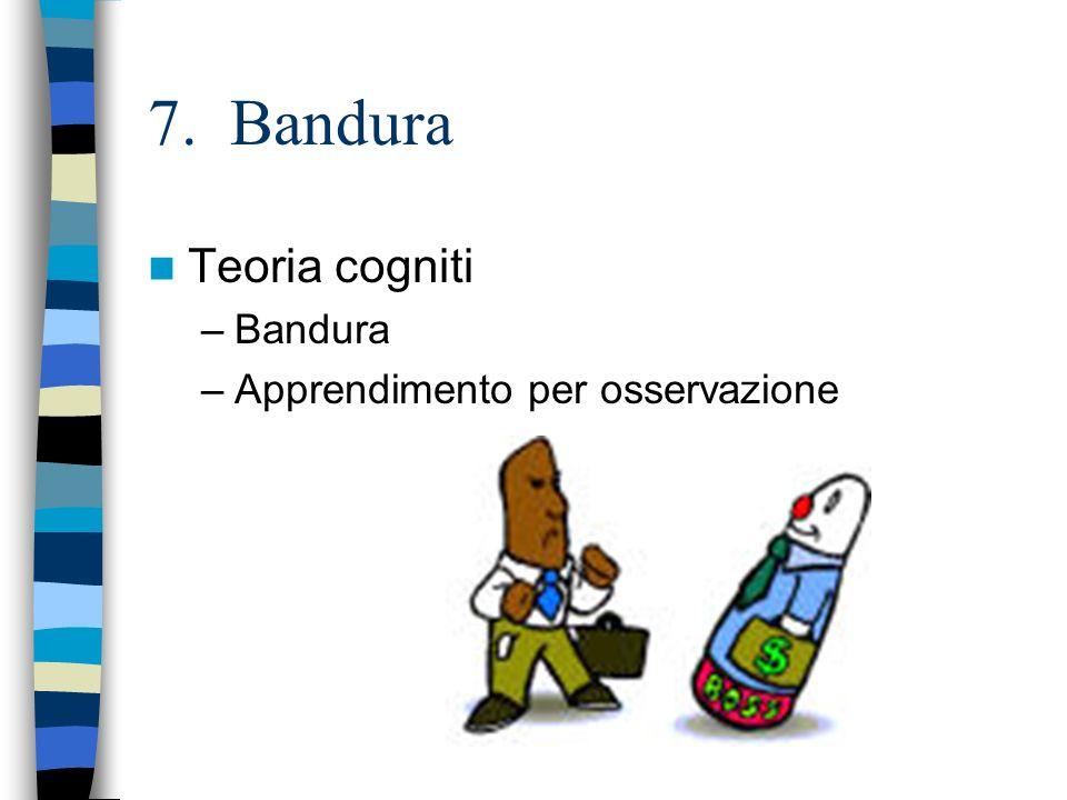 7. Bandura Teoria cogniti –Bandura –Apprendimento per osservazione