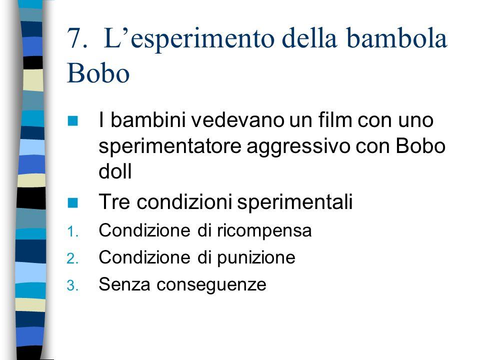 7. Lesperimento della bambola Bobo I bambini vedevano un film con uno sperimentatore aggressivo con Bobo doll Tre condizioni sperimentali 1. Condizion