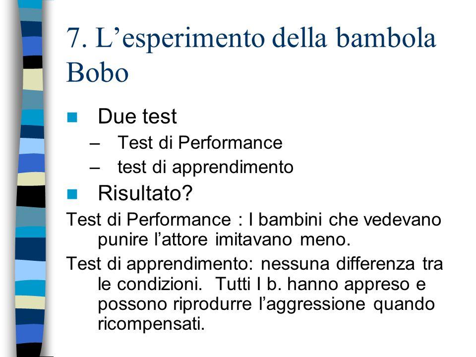 7. Lesperimento della bambola Bobo Due test –Test di Performance –test di apprendimento Risultato? Test di Performance : I bambini che vedevano punire