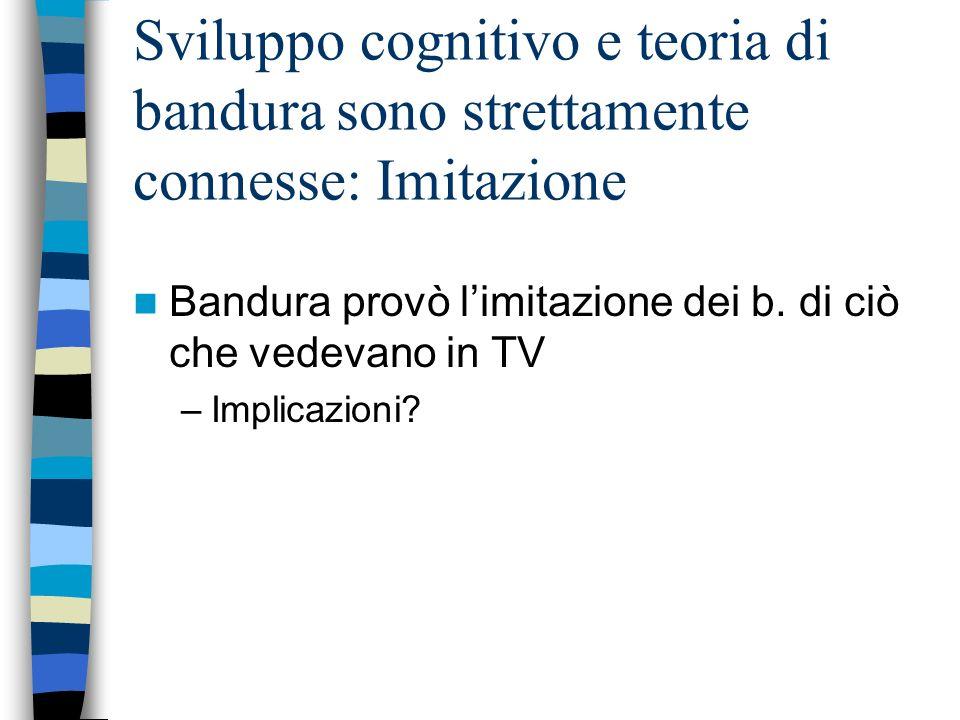 Sviluppo cognitivo e teoria di bandura sono strettamente connesse: Imitazione Bandura provò limitazione dei b. di ciò che vedevano in TV –Implicazioni