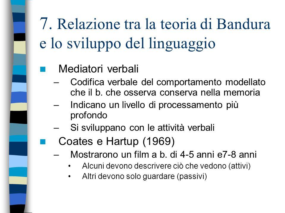 7. Relazione tra la teoria di Bandura e lo sviluppo del linguaggio Mediatori verbali –Codifica verbale del comportamento modellato che il b. che osser