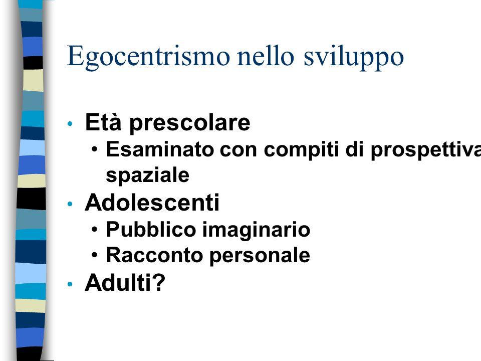 Egocentrismo nello sviluppo Età prescolare Esaminato con compiti di prospettiva spaziale Adolescenti Pubblico imaginario Racconto personale Adulti?