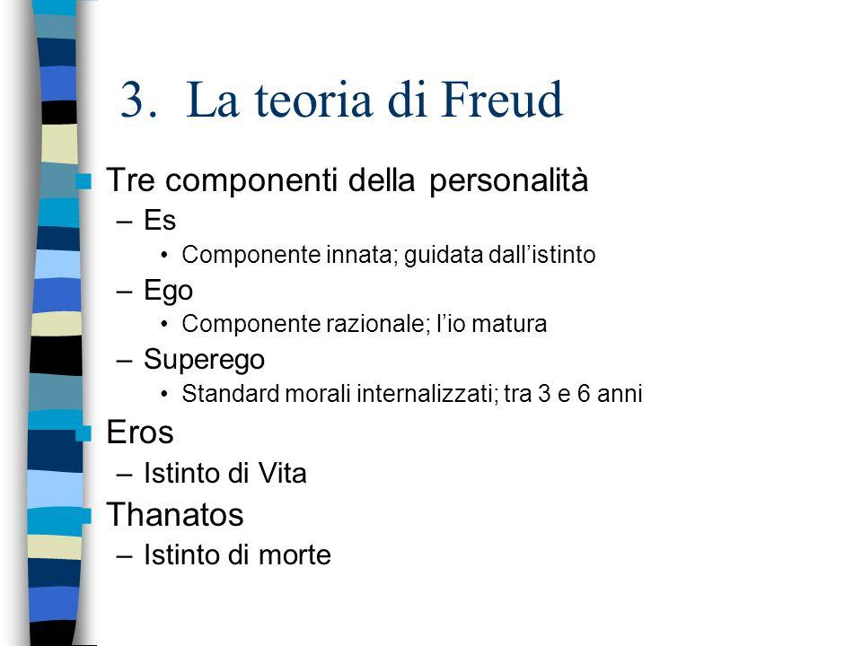 3. La teoria di Freud Tre componenti della personalità –Es Componente innata; guidata dallistinto –Ego Componente razionale; lio matura –Superego Stan