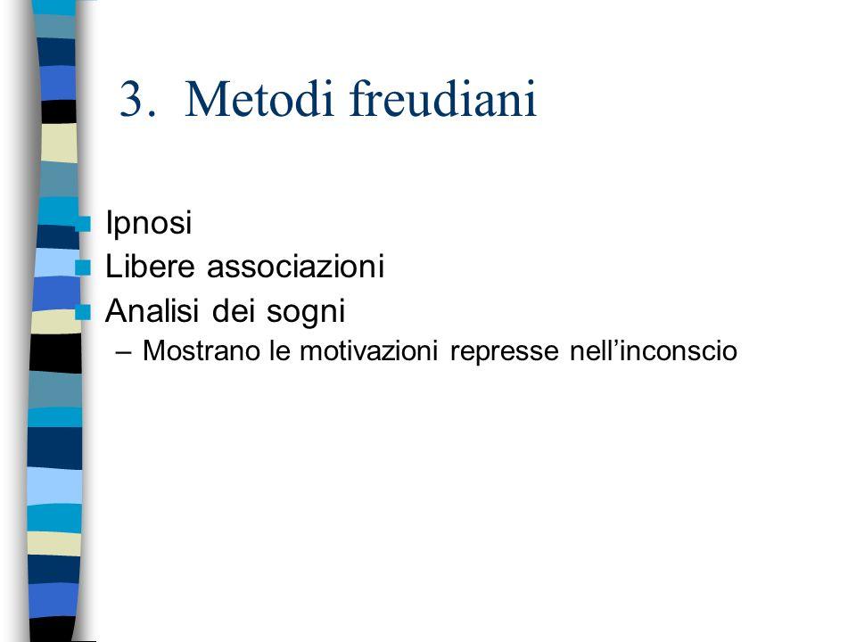3. Metodi freudiani Ipnosi Libere associazioni Analisi dei sogni –Mostrano le motivazioni represse nellinconscio