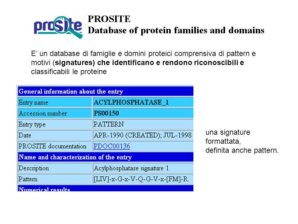 E un database di famiglie e domini proteici comprensiva di pattern e motivi (signatures) che identificano e rendono riconoscibili e classificabili le