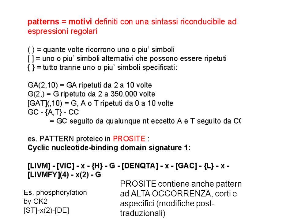 PROSITE contiene anche pattern ad ALTA OCCORRENZA, corti e aspecifici (modifiche post- traduzionali) Es. phosphorylation by CK2 [ST]-x(2)-[DE]