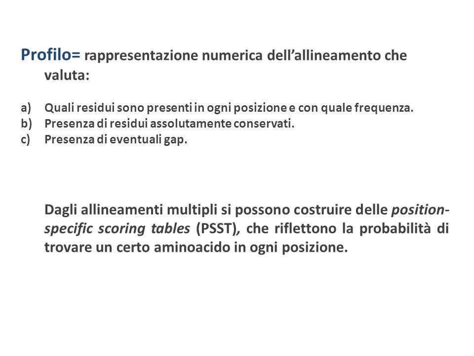 Profilo= rappresentazione numerica dellallineamento che valuta: a)Quali residui sono presenti in ogni posizione e con quale frequenza. b)Presenza di r