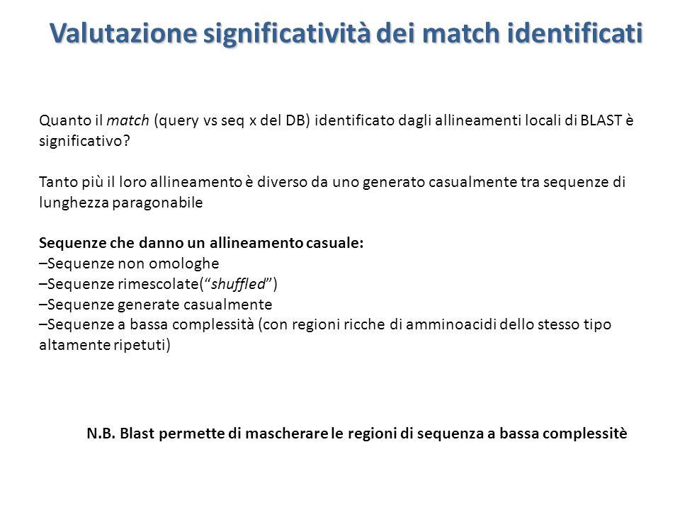 Valutazione significatività dei match identificati Quanto il match (query vs seq x del DB) identificato dagli allineamenti locali di BLAST è significa