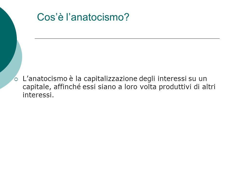 Cosè lanatocismo? Lanatocismo è la capitalizzazione degli interessi su un capitale, affinché essi siano a loro volta produttivi di altri interessi.