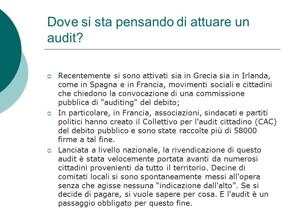 Dove si sta pensando di attuare un audit? Recentemente si sono attivati sia in Grecia sia in Irlanda, come in Spagna e in Francia, movimenti sociali e