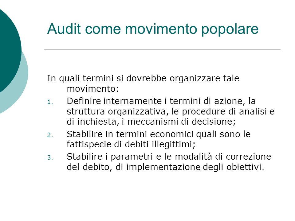 Audit come movimento popolare In quali termini si dovrebbe organizzare tale movimento: 1. Definire internamente i termini di azione, la struttura orga