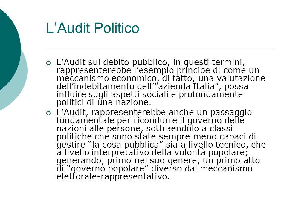 LAudit Politico LAudit sul debito pubblico, in questi termini, rappresenterebbe lesempio principe di come un meccanismo economico, di fatto, una valutazione dellindebitamento dellazienda Italia, possa influire sugli aspetti sociali e profondamente politici di una nazione.