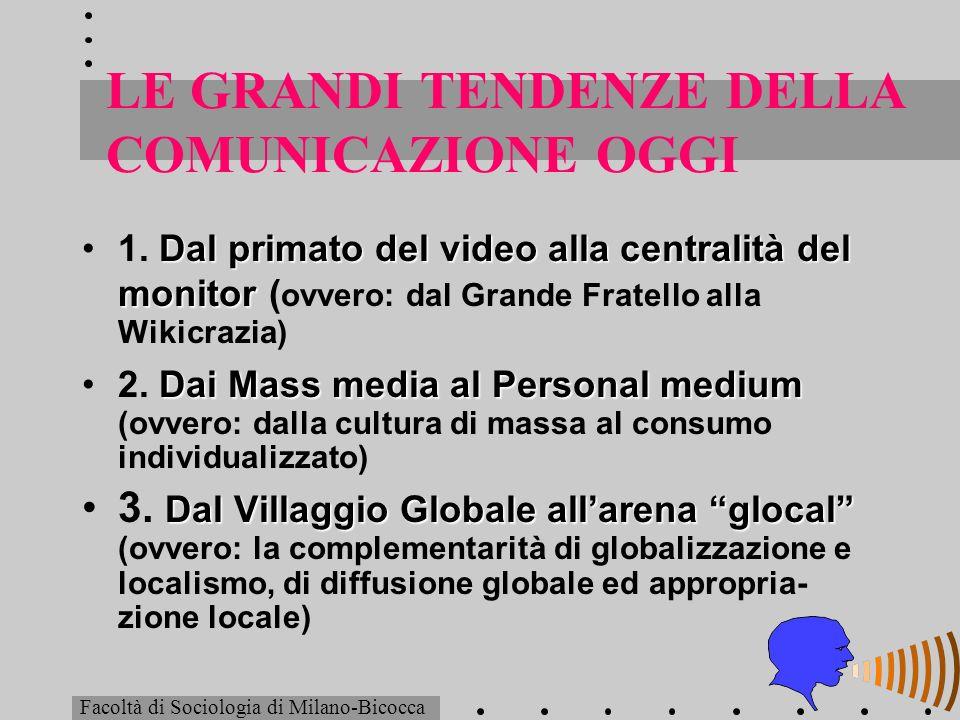 LE GRANDI TENDENZE DELLA COMUNICAZIONE OGGI (segue) Dallallocuzione alla conversazione4.