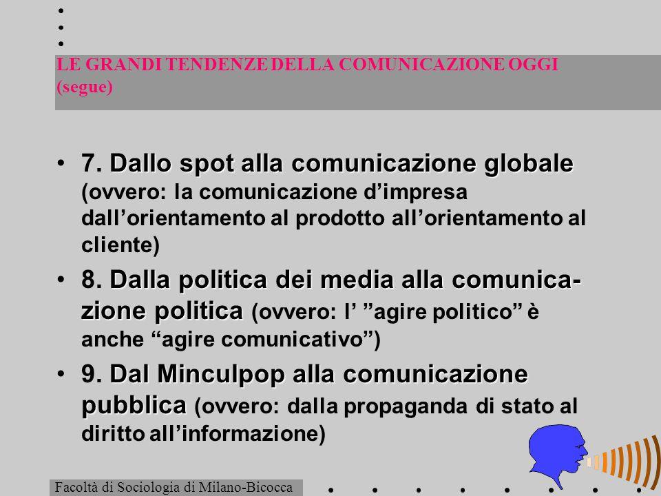 LE GRANDI TENDENZE DELLA COMUNICAZIONE OGGI (segue) Dallo spot alla comunicazione globale7. Dallo spot alla comunicazione globale (ovvero: la comunica