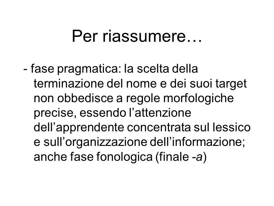 Per riassumere… - fase pragmatica: la scelta della terminazione del nome e dei suoi target non obbedisce a regole morfologiche precise, essendo latten