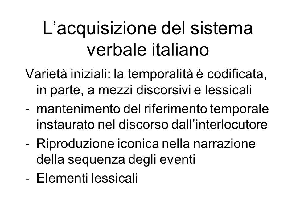 Lacquisizione del sistema verbale italiano Varietà iniziali: la temporalità è codificata, in parte, a mezzi discorsivi e lessicali -mantenimento del r