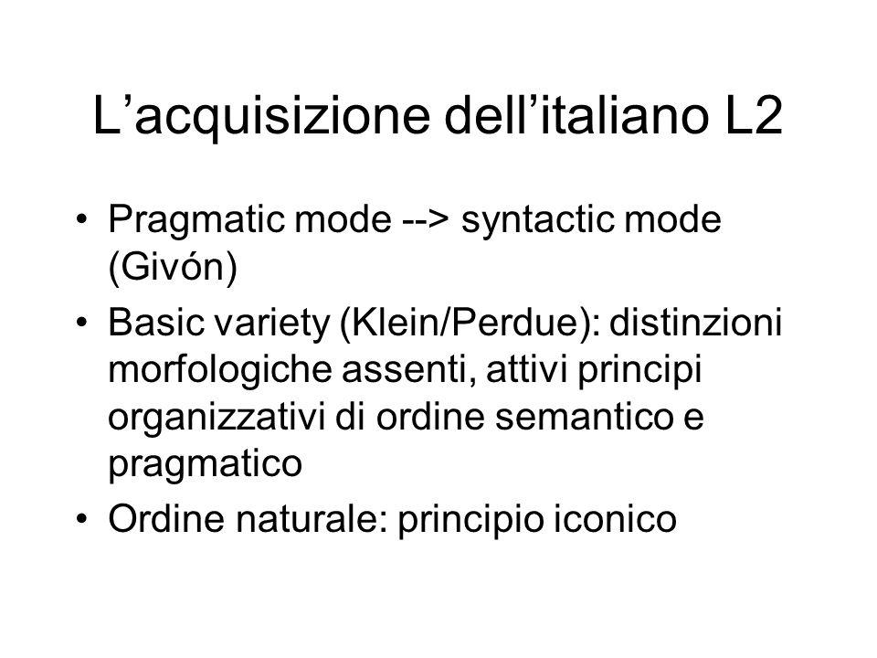 Lacquisizione dellitaliano L2 Pragmatic mode --> syntactic mode (Givón) Basic variety (Klein/Perdue): distinzioni morfologiche assenti, attivi princip