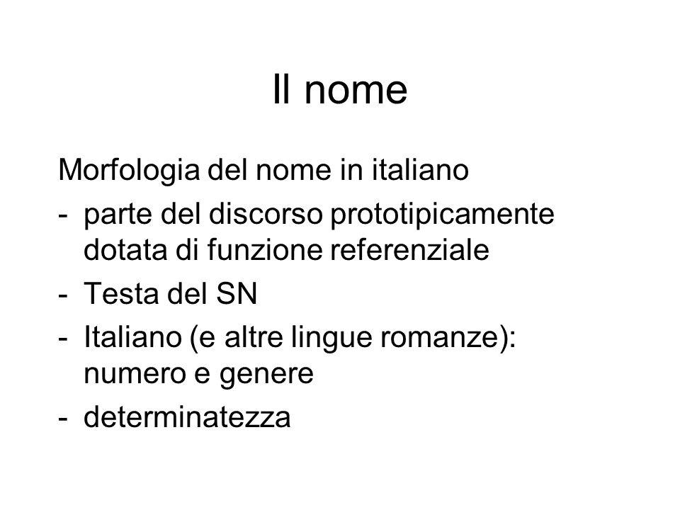 Il nome Morfologia del nome in italiano -parte del discorso prototipicamente dotata di funzione referenziale -Testa del SN -Italiano (e altre lingue r