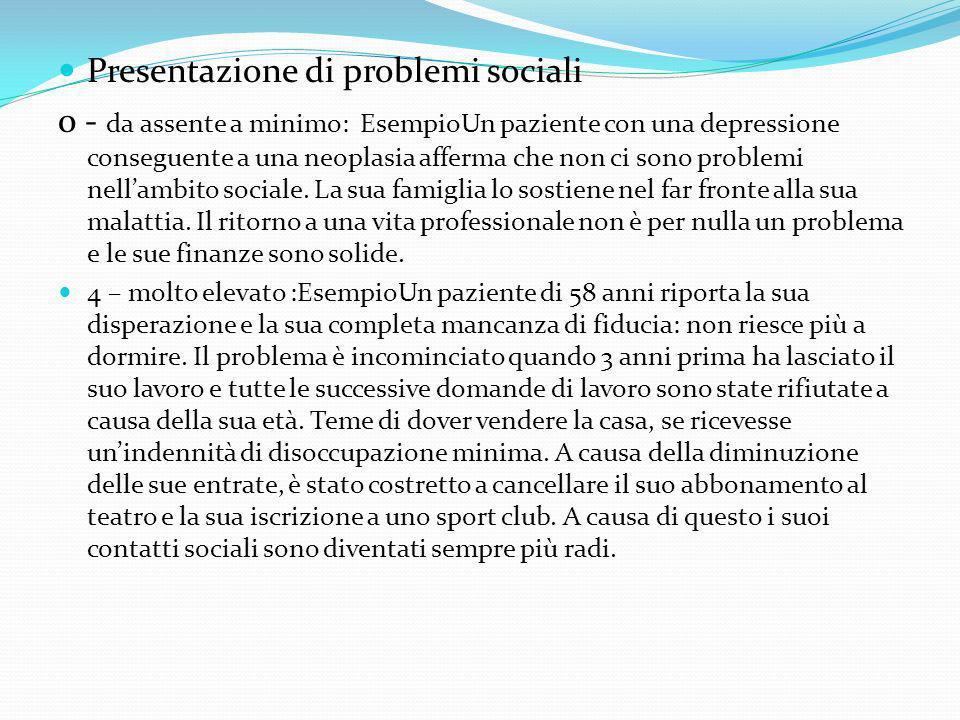 Presentazione di problemi sociali 0 - da assente a minimo: EsempioUn paziente con una depressione conseguente a una neoplasia afferma che non ci sono problemi nellambito sociale.