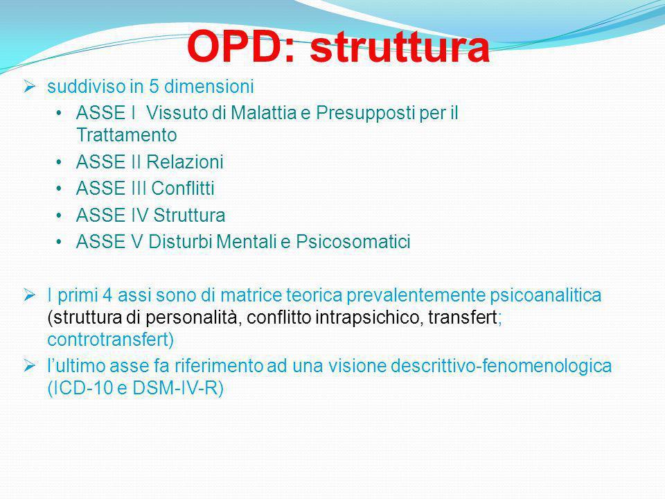 OPD: struttura suddiviso in 5 dimensioni ASSE I Vissuto di Malattia e Presupposti per il Trattamento ASSE II Relazioni ASSE III Conflitti ASSE IV Struttura ASSE V Disturbi Mentali e Psicosomatici I primi 4 assi sono di matrice teorica prevalentemente psicoanalitica (struttura di personalità, conflitto intrapsichico, transfert; controtransfert) lultimo asse fa riferimento ad una visione descrittivo-fenomenologica (ICD-10 e DSM-IV-R)