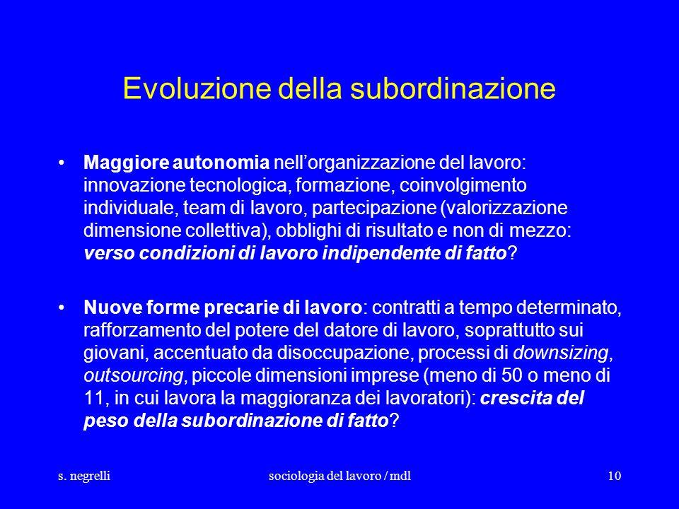 s. negrellisociologia del lavoro / mdl10 Evoluzione della subordinazione Maggiore autonomia nellorganizzazione del lavoro: innovazione tecnologica, fo