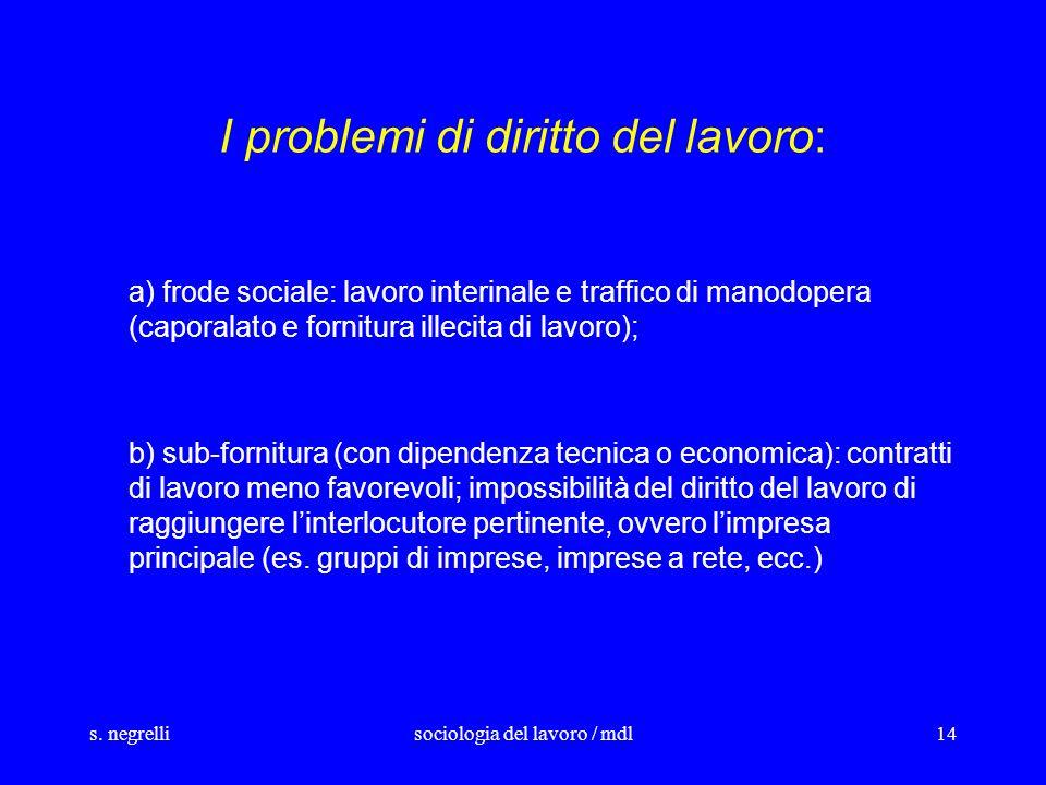 s. negrellisociologia del lavoro / mdl14 I problemi di diritto del lavoro: a) frode sociale: lavoro interinale e traffico di manodopera (caporalato e