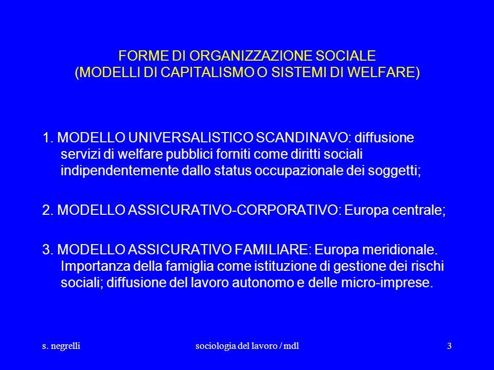 s. negrellisociologia del lavoro / mdl3 FORME DI ORGANIZZAZIONE SOCIALE (MODELLI DI CAPITALISMO O SISTEMI DI WELFARE) 1. MODELLO UNIVERSALISTICO SCAND