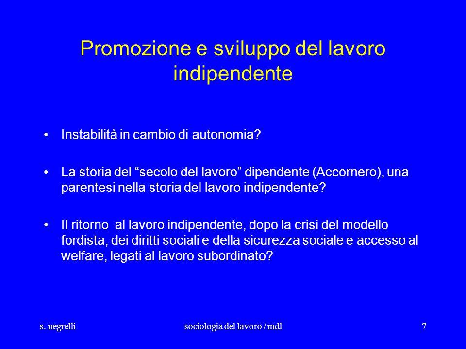 s. negrellisociologia del lavoro / mdl7 Promozione e sviluppo del lavoro indipendente Instabilità in cambio di autonomia? La storia del secolo del lav