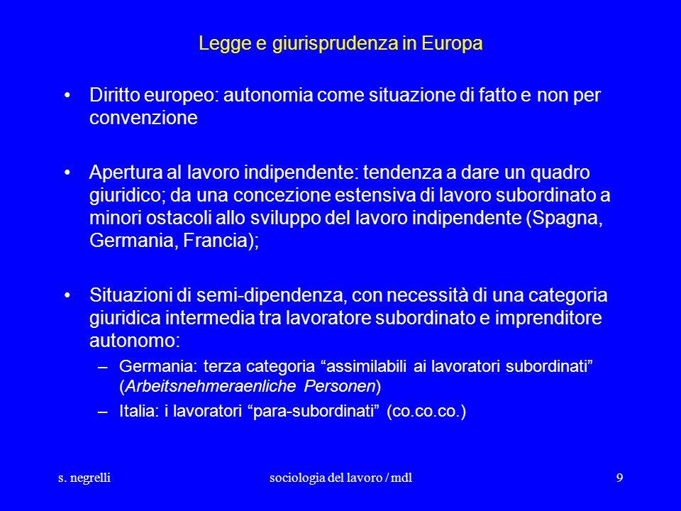s. negrellisociologia del lavoro / mdl9 Legge e giurisprudenza in Europa Diritto europeo: autonomia come situazione di fatto e non per convenzione Ape