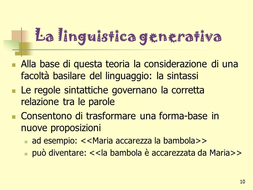 10 La linguistica generativa Alla base di questa teoria la considerazione di una facoltà basilare del linguaggio: la sintassi Le regole sintattiche go