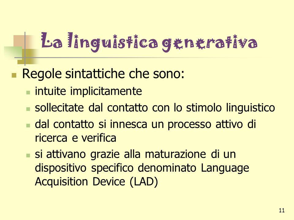 11 La linguistica generativa Regole sintattiche che sono: intuite implicitamente sollecitate dal contatto con lo stimolo linguistico dal contatto si i